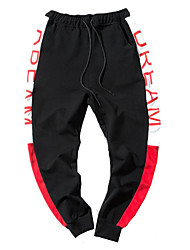 economico -pantalone chino classico elasticizzato da uomo a vita bassa in cotone, semplice lettera in poliestere / cotone primavera / autunno