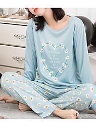 cheap -Women's Deep U Suits Pajamas Floral