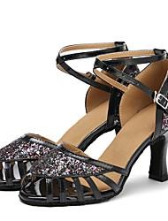 cheap -Women's Latin Shoes Paillette Sandal / Heel Bows / Paillette Customized Heel Customizable Dance Shoes Black / Indoor