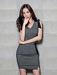 abordables -Femme Grandes Tailles Manches Evasées Coton / Lin / Acrylique Set - Couleur Pleine, Plissé Jupe