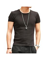 preiswerte -Herrn Solide Baumwolle T-shirt, Rundhalsausschnitt