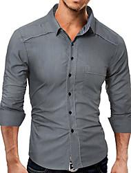 baratos -Homens Camisa Social Diário Simples Primavera, Sólido Poliéster Colarinho de Camisa Manga Longa