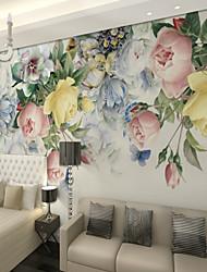 Недорогие -3d многоцветный цветок розы на заказ большой настенные покрытия настенные обои подходят спальня ресторан телевизор фон
