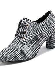 preiswerte -Damen Schuhe Kaschmir Frühling Komfort High Heels Blockabsatz Runde Zehe Schwarz / Gelb