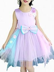abordables -Robe Fille de Quotidien Fleur Coton Polyester Printemps Eté Manches Courtes simple Mignon Rose Claire Violet