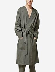 abordables -Col en V Satin & Soie Pyjamas Homme Couleur Pleine