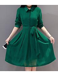 Žene Širok kroj Haljina - Drapirano, Jednobojni