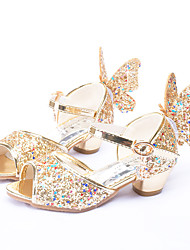 cheap -Girls' Shoes Sparkling Glitter Spring Summer Flower Girl Shoes Novelty Sandals Bowknot Sequin Buckle for Wedding Party & Evening Gold