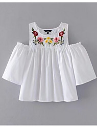 cheap -Women's Basic Blouse Embroidered / Summer / Embroidery