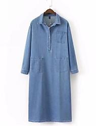 abordables -Femme Vacances Basique Toile de jean Robe Couleur unie Col de Chemise Mi-long
