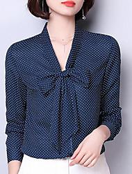 Недорогие -Жен. Классический Блуза, V-образный вырез Свободный силуэт Горошек Рукава буффы