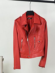 Недорогие -Жен. Кожаные куртки Однотонный Крупногабаритные