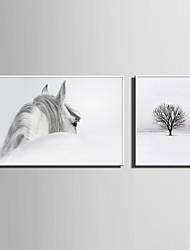 Недорогие -Холст в раме Набор в раме - Пейзаж Животные Пластик Иллюстрации Предметы искусства