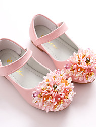 cheap -Girls' Shoes Leatherette Spring Fall Flower Girl Shoes Ballerina Flats Magic Tape Flower for Wedding Party & Evening White Pink