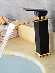 Недорогие -современный centerset керамический клапан с одной ручкой одно отверстие масло-бронза картина черный, раковина в ванной комнате кран смесители для ванны