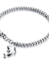 abordables -Breloque Charms Bracelet Femme Acier au titane Inoxydable Dauphin dames Rock Doux Bracelet Bijoux Argent Or Rose pour Mariage L'obtention du diplôme