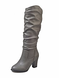 cheap -Women's Shoes PU Fall Winter Fashion Boots Comfort Boots Chunky Heel Knee High Boots for Casual Black Gray Brown