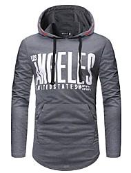 mænds plus størrelse lange ærmer bomuld slank hoodie - solid brev