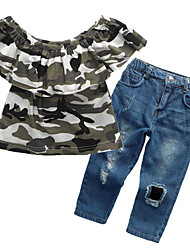 cheap -Girls' Daily Going out Print Clothing Set, Cotton Summer Short Sleeves Casual Street chic Blue