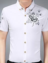 preiswerte -Herrn Solide - Geschäftlich Übergrössen Hemd Schlank Baumwolle