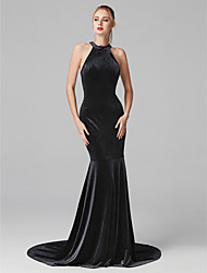 cheap -Mermaid / Trumpet Jewel Neck Court Train Velvet Cocktail Party / Prom / Formal Evening Dress with Pleats by TS Couture®