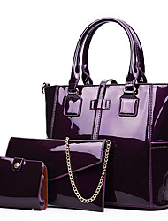 cheap -Women's Bags Patent Leather Bag Set 3 Pcs Purse Set Zipper for Shopping Casual All Seasons Blue Black Red Purple