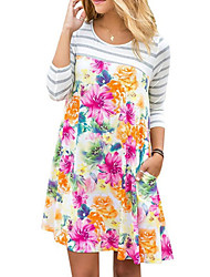 cheap -Women's Casual Basic Loose Dress - Floral