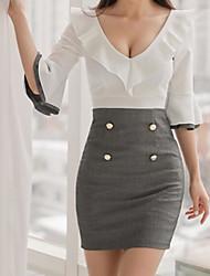 Недорогие -Жен. Офис Классический Вспышка рукава Облегающий силуэт Платье - Однотонный, С принтом Завышенная Глубокий V-образный вырез Выше колена