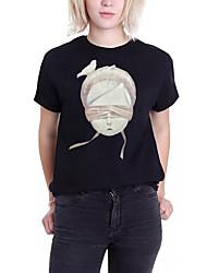 baratos -Mulheres Camiseta - Para Noite Activo Retrato Algodão
