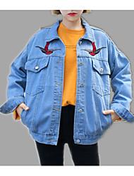 baratos -Mulheres Jaqueta jeans Básico-Sólido Floral/Botânico Bordado