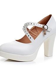 preiswerte -Damen Schuhe Mikrofaser Frühling Herbst Pumps High Heels Blockabsatz Spitze Zehe Strass Schnalle für Normal Party & Festivität Weiß