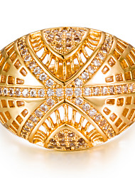 cheap -Women's Cubic Zirconia Geometric Band Ring - Gold Plated Fashion 5 / 6 / 7 Gold For Wedding / Gift
