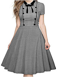 cheap -Women's Casual Basic Skater Dress - Solid Colored Polka Dot Striped High Waist
