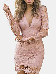 cheap -Women's Street chic Slim Bodycon Sheath Dress - Solid Colored, Lace Backless Cut Out High Waist Mini V Neck