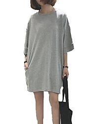 baratos -Mulheres Para Noite Moda de Rua Solto Vestido Sólido Acima do Joelho