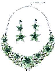 Недорогие -Жен. Синтетический алмаз Комплект ювелирных изделий - Цветы Классика, Крупногабаритные Включают Серьги-слезки Ожерелья с подвесками Зеленый Назначение Обручение Официальные