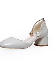 preiswerte -Damen Schuhe PU Frühling Sommer Pumps Komfort High Heels Stöckelabsatz Spitze Zehe Niete Schnalle für Party & Festivität Kleid Weiß Blau