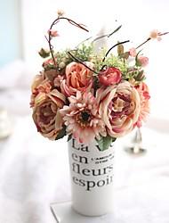 abordables -6 Une succursale Soie Contact réel Autres Plantes Roses Fleur de Table Fleurs artificielles