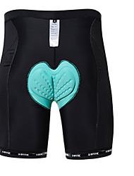 baratos -SANTIC Unisexo Bermudas Acolchoadas Para Ciclismo Moto Shorts Sólido Poliéster, Elastano Preto Roupa de Ciclismo