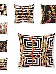 economico -7 pezzi Tessuto Cotone/Lino Copricuscino, Con stampe Artistico Floreale Motivo Tropicale