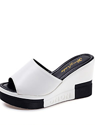 cheap -Women's Shoes PU Summer Comfort Sandals Walking Shoes Wedge Heel Open Toe for Outdoor White Black