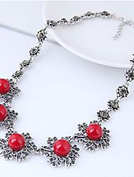 Недорогие -Жен. Длинные ожерелья Заявление ожерелья - Резина Цветы Винтаж, европейский, Мода Красный Ожерелье Назначение Для вечеринок