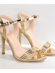 cheap -Women's Shoes Patent Leather Spring Fall Basic Pump Comfort Sandals Stiletto Heel for Casual Gold