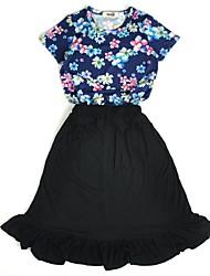 abordables -Chica Noche Festivos Un Color Floral Estampado Conjunto de Ropa, Algodón Acrílico Primavera Verano Manga Corta Bonito Activo Azul Piscina