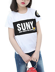 cheap -Girls' Daily Sports Solid Colored Print Tee, Cotton Polyester Summer Short Sleeves Basic White Black Red