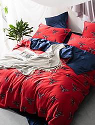 Sengesæt Blomstret 4 Dele Polyester/Bomuld Mønstret Polyester/Bomuld 1stk Dynebetræk 2stk Betræk 1stk Flad Lagen