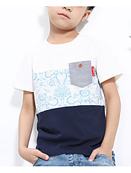 preiswerte -Jungen T-Shirt Alltag Einfarbig Baumwolle Sommer Kurzarm Einfach Weiß