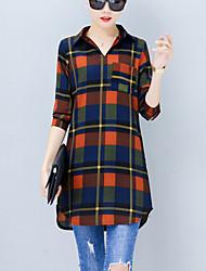 preiswerte -Damen Einfach Hemd - Schachbrett Hemdkragen