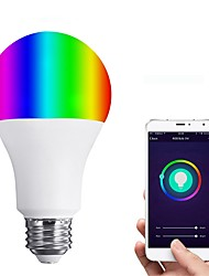 cheap -JIAWEN 1pc 6W 450lm E26 / E27 LED Smart Bulbs 12 LED Beads SMD 3528 Smart Dimmable APP Control Remote-Controlled Warm White RGB 110-120V