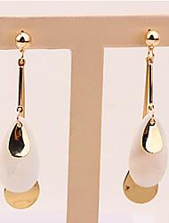 baratos -Mulheres Longas Brincos Compridos - Resina Caído Simples, Europeu, Fashion Dourado Para Casual